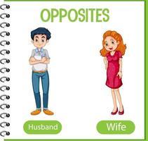 mots opposés avec mari et femme vecteur