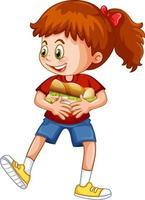 personnage de dessin animé fille heureuse étreignant un sandwich alimentaire