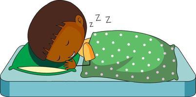Personnage de dessin animé de doodle endormi du petit garçon isolé