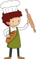 petit boulanger tenant le personnage de dessin animé de trucs de cuisson isolé vecteur