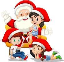 Père Noël assis sur ses genoux avec de nombreux enfants sur fond blanc vecteur