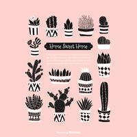 Doodle en pot de plantes succulentes et de fond de vecteur de cactus