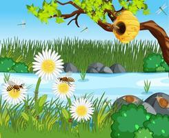 scène de la nature avec de nombreuses abeilles dans la forêt