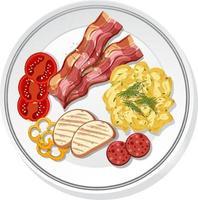vue de dessus du petit déjeuner sur un plat isolé vecteur