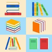 collection de livres de bibliothèque colorée vecteur