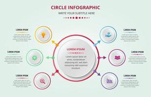 cercle moderne infographie 6 options avec des couleurs dégradées et des icônes commerciales