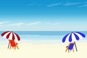 fond de plage d'été avec chaises longues et parasols vecteur