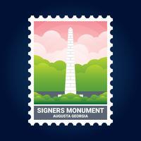 Signers Monument Illustration Augusta Géorgie États-Unis Timbre vecteur