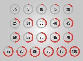 ensemble de pourcentage de cercles pour infographie vecteur
