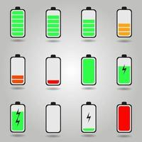ensemble de symboles d'état de charge de batterie de téléphone plat vecteur