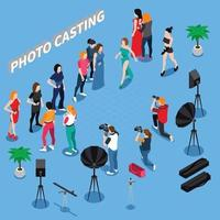 composition isométrique de l'agence de mannequins photo vecteur