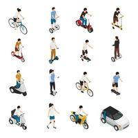 personnes isométriques de transport écologique écologique personnel vecteur