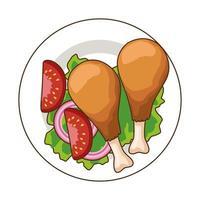 plat avec de délicieuses cuisses de poulet icône de restauration rapide vecteur