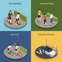 transport écologique écologique personnel 2x2 isométrique vecteur