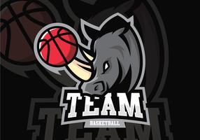 Mascotte de basket-ball rhinocéros vecteur