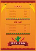 Modèle de menu de cuisine mexicaine vecteur