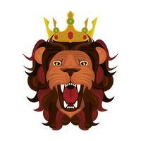 tête de lion avec couronne vecteur