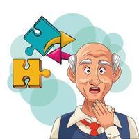 Vieil homme et patient atteint de la maladie d'Alzheimer avec des problèmes cérébraux vecteur