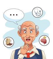 vieil homme et patient atteint de la maladie d & # 39; alzheimer avec des icônes de santé vecteur