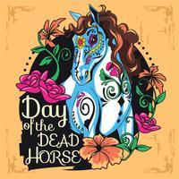 Style d'illustration de crâne mignon cheval sucre pour le jour des morts vecteur