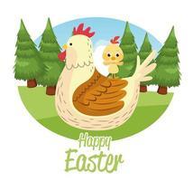 joyeuses pâques carte saisonnière avec poule et petit poussin vecteur