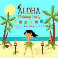 Carte de vecteur de fête d'anniversaire polynésien de dessin animé