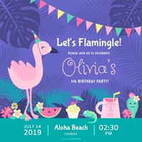 Let's Flamingle Carte d'invitation de vecteur de fête d'anniversaire polynésienne