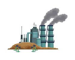 usine avec scène de cheminées polluantes vecteur