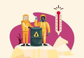 écologistes avec des personnages de protection des combinaisons nucléaires vecteur