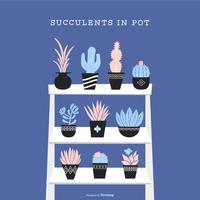 Succulentes en pot vecteur défini