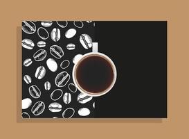 tasse à café sur affiche noire avec conception de vecteur de haricots