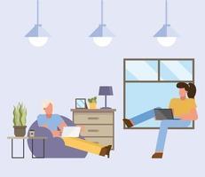 homme et femme avec ordinateur portable travaillant à partir de la conception de vecteur maison