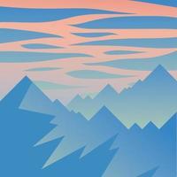 montagnes et ciel rose avec fond de nuages vecteur