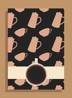 tasse à café sur une affiche noire avec des pots et des tasses de conception de vecteur
