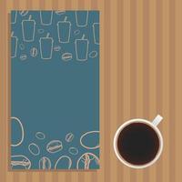 tasse à café et affiche bleue avec des tasses et des haricots vector design