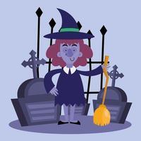 dessin animé de sorcière halloween avec balai et conception de vecteur de tombes