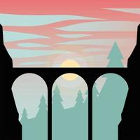 silhouette de pont en face de fond de pins vecteur