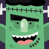 monstre vert de dessin animé halloween vecteur