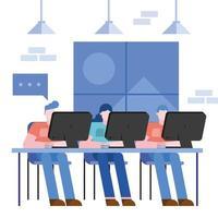 concept de coworking avec homme et femme vecteur