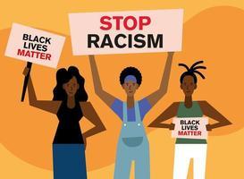 la vie noire compte la démonstration avec des femmes vecteur