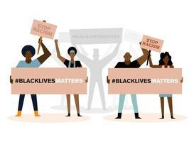 la vie noire compte la démonstration avec les gens vecteur