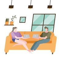 femme et homme avec ordinateur portable sur canapé à la conception de vecteur à la maison