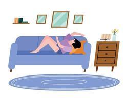 femme sur canapé à la conception de vecteur à la maison