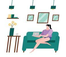 femme avec ordinateur portable sur canapé à la conception de vecteur à la maison