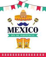 fête de l'indépendance du mexique avec sombrero vecteur