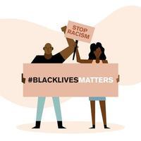 les vies noires comptent arrêter le racisme bannières femme et homme vector design