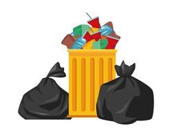 icône isolé de sac poubelle en plastique vecteur