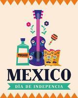 fête de l'indépendance du mexique avec tequila, guitare et bottes vecteur
