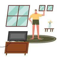 homme regardant la télévision à la maison vector design