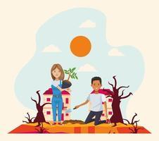 couple d & # 39; écologistes en caractères de forêt sèche vecteur